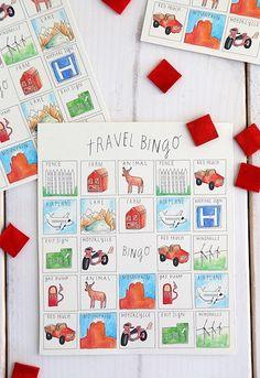 5. De weg. Say Yes to Hoboken printable travel bingo car game for kids