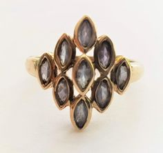 Vintage Ladies Modern Iolite Marquise Statement Ring in 9 ct Yellow Gold FREE POSTAGE Included by GloryBeVintageWares on Etsy