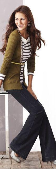 stripes, boyfriend cardigan, trousers, heels