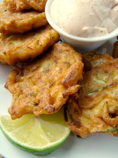 zucchini fritters with chili lime mayo [lighten them up by baking or using less oil & subbing Greek yogurt in the dip] #healthynibbles