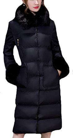 Vska Women Winter Luxury Fur Collar Slim Thick Mid Long Down Coat Black L >>> Read more at the image link.