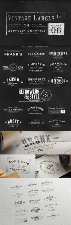 Logo Creation Kit Bundle with retro, vintage, artistic, watercolor, masculine, feminine, and hipster style text and shapes.