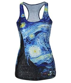 Amoluv Hot Fashion Women Van Goghs Stars Night Printed Sleeveless T Shirt Vest Tank Tops ** Details can be found by clicking on the image. (This is an affiliate link)