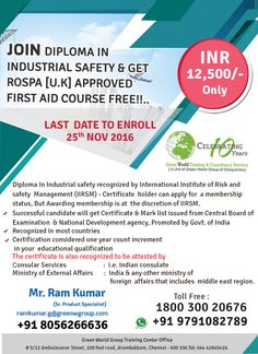 GWG's double dhamaka offer for national diploma course in  offshore safety.  greenwgroup.co.in/safety-diploma-courses/