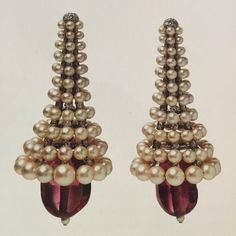 Jewels by JAR~ Pearl, spinel, and diamond earrings. From the collection of the Victoria and Albert Museum, London.