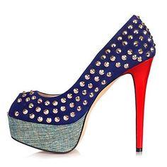 ARS $ 1099 Zapatos Pumps Heels Stiletto Multicolor en tono azul marino con tachas doradas y plataforma en azul Jean Muy cancheras!!