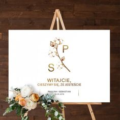 PLAKAT personalizowany 50x70cm Kwiaty Bawełny Place Cards, Place Card Holders, Alcohol, Poster