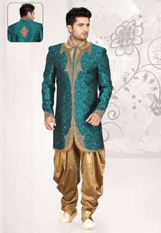 Teal Green Brocade Art Silk Readymade Sherwani with Dhoti Pant: MCD2552