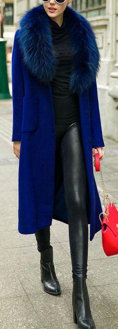 wool blend faux fur collar coat
