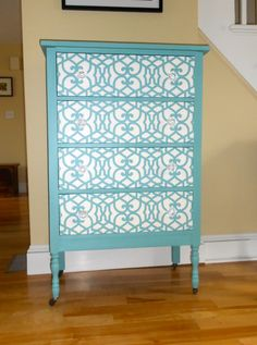 {painted and stenciled chest of drawers}    previous Pinner --> First time stenciling on furniture.  I love this Royal Design stencil.  Cara's Refinished Furniture.
