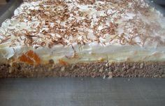 Název je zcela přesný. Úžasný pudinkově-tvarohový krém doplněný mandarinkami na lehkém nadýchaném ořechovým těste a na vrchu lahodná šlehačka s čokoládou. Autor: Aďka