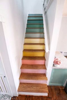 Reveal of my rainbow stairs! Ready to see my staircase makeover? This is a DIY project with wood oak treads and painted raisers to look like a pastel rainbow. I wanted a modern and unique design. These stairs used to have carpet. Painted Staircases, Painted Stairs, Wood Stairs, Spiral Staircases, Staircase Painting, Painting Wooden Stairs, Stairs Colours, Sweet Home, Staircase Makeover