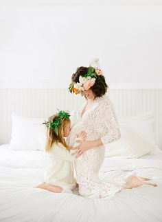 Daughter kisses Mom's pregnant belly in this adorable maternity session!
