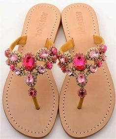 Mystique sandals in pink :) Mais Cute Sandals, Cute Shoes, Me Too Shoes, Shoes Sandals, Flat Sandals, Leather Sandals, Mystique Sandals, Jeweled Sandals, Mode Inspiration