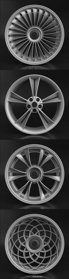 Four more car rim concepts from a single parametric definition in Rhino / Grasshopper  Video demo coming soon!  #rimdesignchallenge #parametricdesign #design #cardesign #carbodydesign	 #conceptdesign #transportationdesign #rhino3d #grasshopper3d #blender3d #rhinoceros3d  #techdesign #3d #3drender