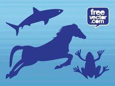 Animals Decals Free Vector Vector Free Download, Free Vector Graphics, Free Vector Images, Silhouette Clip Art, Animal Silhouette, Running Horses, Zoo Animals, Sea Creatures, Vector Design