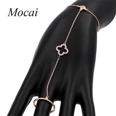 2017 New Brand Design High Quality Rose Gold Finger Siamese Conjoined Four Leaf Clovers Bracelet For Women Fine Jewelry