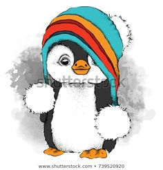 Illustration about A cartoon penguin in a hat. Character for Christmas and New Year`s design. Illustration of wild, light, penguin - 102921365 Christmas Drawing, Christmas Paintings, Cartoon Cartoon, New Year Cartoon, Animal Drawings, Cute Drawings, Pinguin Drawing, Pinguin Illustration, New Year Illustration