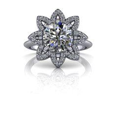 Diamond Flower Style Halo Engagement Ring Round SUPERNOVA Colorless Moissanite 1.59 CTW