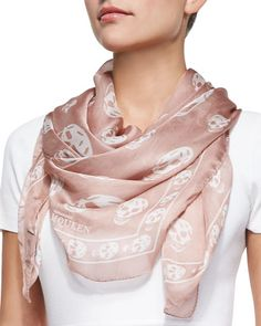 Skull-Print Scalloped Silk Scarf, Rose Mole/Ivory by Alexander McQueen at Neiman Marcus.