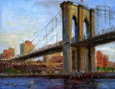 Hall Groat II Paintings: Brooklyn Bridge, New York City East River ...