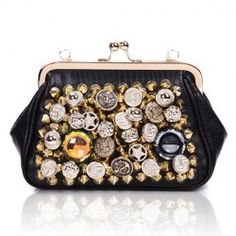 $15.22 Party Women's Clutch With PU Leather and Studs Rhinestone Design