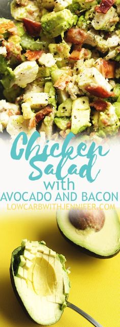 The best leftover chicken recipe is this keto chicken salad. It's loaded wit… The best leftover chicken recipe is this keto chicken salad. It's loaded with avocado and bacon…you will not miss the mayo in this one! Healthy Diet Recipes, Healthy Meal Prep, Ketogenic Recipes, Low Carb Recipes, Healthy Eating, Cooking Recipes, Bacon Recipes Keto, Bacon Food, Cooking Kale