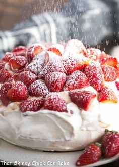 """Strawberry Pavlova - A large """"squidgy"""" meringue shell topped with a pillow of whipped cream and balsamic strawberries Pavlova Toppings, Strawberry Pavlova, Strawberry Shortcake Recipes, Strawberry Meringue, Chocolate Pavlova, Chocolate Cake, Pavlova Cake, Meringue Cake, Meringue Food"""