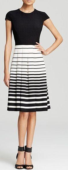 Anne Klein Cap Sleeve Stripe Skirt Dress ($129)