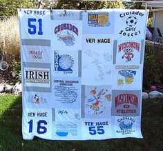 T Shirt Quilts Photo Gallery: Cassandra's Reversible T-Shirt Quilt, the Sports Side