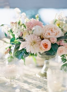 Pastel centerpiece | Elizabeth and Pippin Charlottesville Wedding