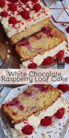 - Jane's Patisserie A Simple and Delicious White Chocolate Raspberry Loaf Cake with White Chocolate Buttercream Frosting and Fresh Raspberries! White Chocolate Raspberry Bundt Cake Recipe, White Chocolate Buttercream Frosting, White Chocolate Cake, Homemade Chocolate, Raspberry Desserts, Chocolate Chips, Sheet Cake Recipes, Easy Cake Recipes, Dessert Recipes