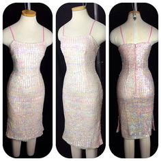Vintage 1950s 60s Pink Iridescent SEQUIN cocktail by hipsmcgee, $165.00