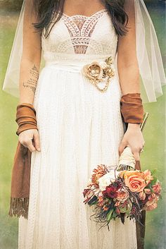 Great shot of a beautifully different wedding dress | D Coleman Photography #boho
