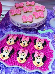 Minnie Mouse Baby Shower Party cookies!  See more party planning ideas at CatchMyParty.com!