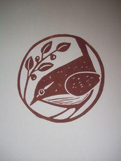 "Print - Carolina Wren - Stamp ""Wren"" via Lorenz Kraft - Stamp Printing, Screen Printing, Stamp Carving, Wax Carving, Handmade Stamps, Linoprint, Arte Floral, Art Graphique, Tampons"