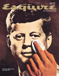 """IlPost - Joh F. Kennedy su una copertina di Geroge Lois del giugno 1964. Come spiega Lois: «""""Kennedy Without tears"""" era un articolo di Tom Wicker che raccontava JFK in modo """"oggettivo e distaccato"""", sette mesi dopo il suo assassinio. La mia copertina alludeva al concetto opposto, con Kennedy che piangeva per il suo destino perduto. (O ... - Joh F. Kennedy su una copertina di Geroge Lois del giugno 1964. Come spiega Lois: «""""K…"""