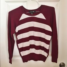 Burgundy and White Striped Sweater Condition: Like New Size: S  *Thin knit material on the front and thin cotton material on the back and arms. *Extremely comfortable. *Feel free to ask questions! *No swaps *Discount if you bundle Forever 21 Tops Tees - Long Sleeve