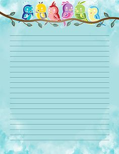 Printable Lined Paper, Free Printable Stationery, Free Printables, Writing Paper, Colorful Birds, Capes, Block Prints, Colourful Birds, Free Printable