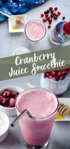 This cranberry juice smoothie is made with frozen raspberries, banana, and yogurt for a creamy drink with just the right amount of sweetness! Try this with dairy-free yogurt for a vegan smoothie or add protein powder for a post-workout treat! Berry Smoothie Recipe, Smoothie Recipes For Kids, Protein Smoothie Recipes, Vegan Smoothies, Easy Smoothies, Strawberry Smoothie, Juice Smoothie, Smoothie Drinks, Fruit Smoothies