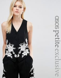 ASOS+PETITE+Co-ord+Luxe+Tux+Waistcoat+with+Pretty+Floral+Embroidery