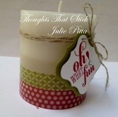 Christmas Washi Tape Candle