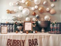 Whatever the occasion nothing says fun more than a Bubbly Bar. This setup is adorable and chic and allows your guests to create their own Champagne cocktail. Whilst it is nice to have a dedicated w…