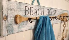 Beach House Oar Paddle Hook Coat Rack Sign Beach by CastawaysHall, $ ...