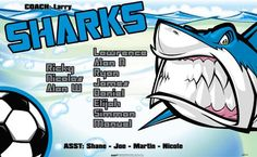 Sharks-46579  digitally printed vinyl soccer sports team banner. Made in the USA and shipped fast by BannersUSA. www.bannersusa.com