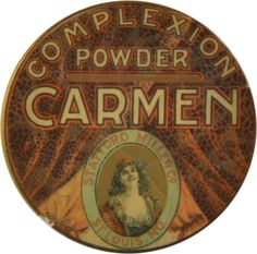"""Advertising pocket mirror for Carmen brand complexion powder by Stafford Miller Co. of St. Louis Mo. Mirror features background image of drapes with inset vignette of a smiling woman. Celluloid cover has many cracks but advertising underneath is still bright and clean. size: 1.75"""" dia."""