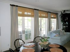 Contemporary Linen Drapes with Bamboo Shades - contemporary - curtains - los angeles - Draperies By Walter Basement Window Curtains, Curtains Home Depot, Family Room Curtains, Sliding Door Curtains, French Door Curtains, Curtain For Door Window, Sliding Glass Door, Drapes Curtains, French Doors