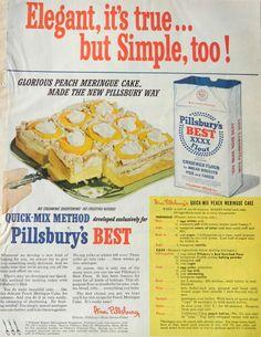 Pillsbury ad, baking flour, yellow kitchen decor, orange kitchen, sunny print, retro food art, vintage 1950's kitchen, retro food print~~