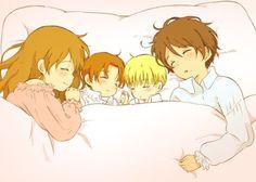 Aww~ it's AusHun and ItaHRE! Happy family X3