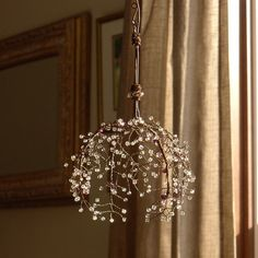 A Crystal Ball Sunshower Chandelier от BellStudios на Etsy Wire Chandelier, Modern Chandelier, Sculpture Textile, House Lamp, Copper Wire Art, Idee Diy, Wire Crafts, Crystal Ball, Lampshades
